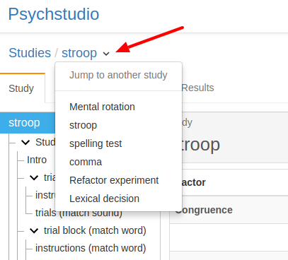 Figure 2. Jump to another study (Psychstudio)