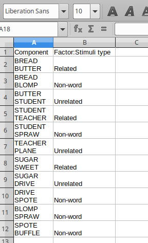 Figure 1. CSV file of word pairs with associated factors and levels (Lexical decision task)