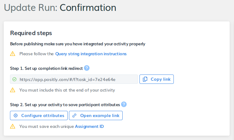 Figure 4. Positly completion link redirect