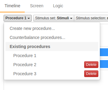Figure 2. Timeline procedure menu (Psychstudio)