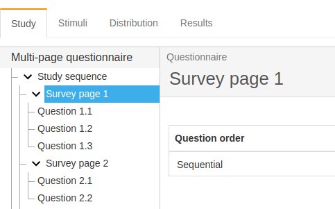 Figure 2. Setting question order (Psychstudio)