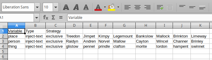 Figure 1. Example variable spreadsheet